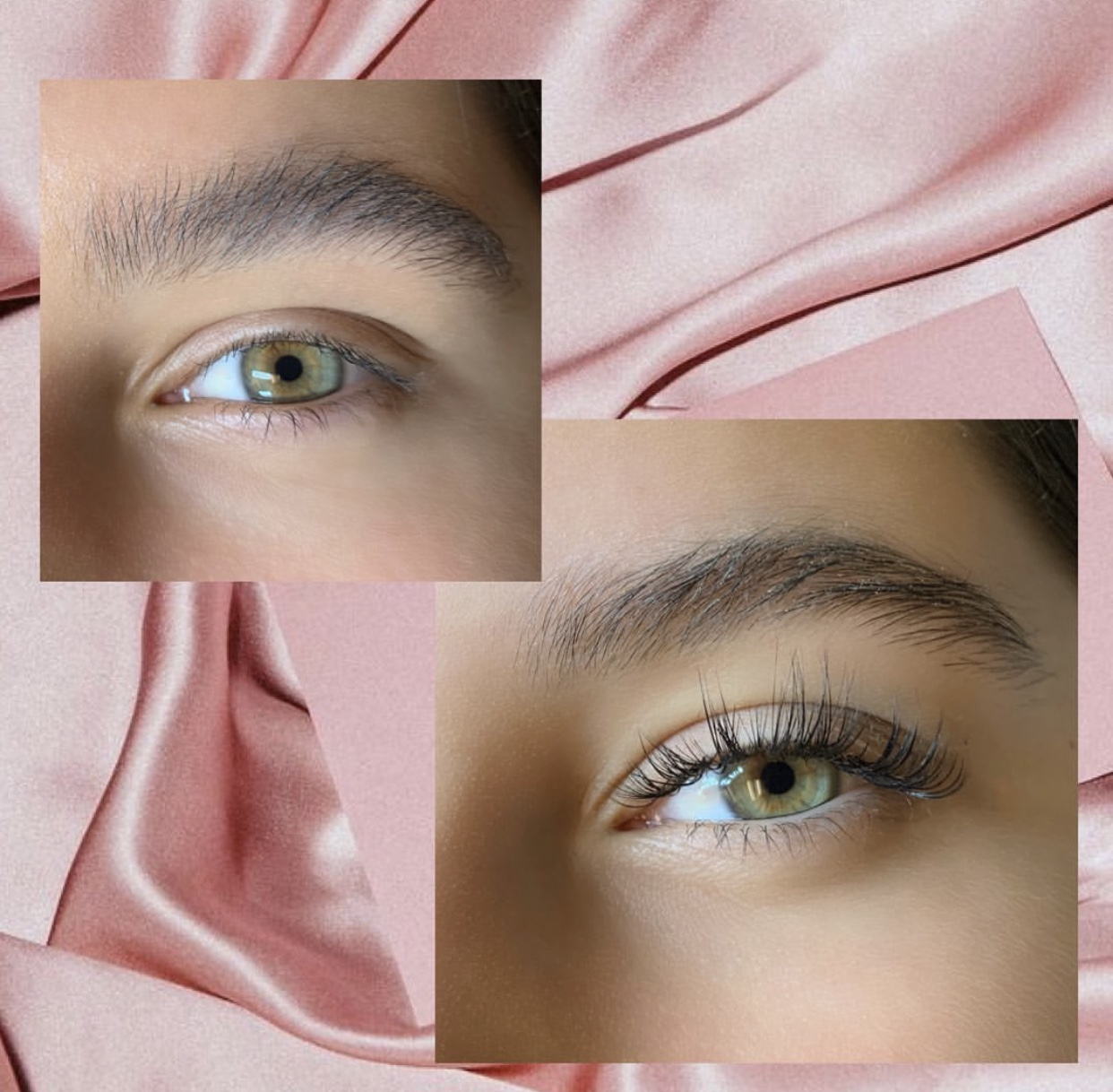before and after eyelash styling images